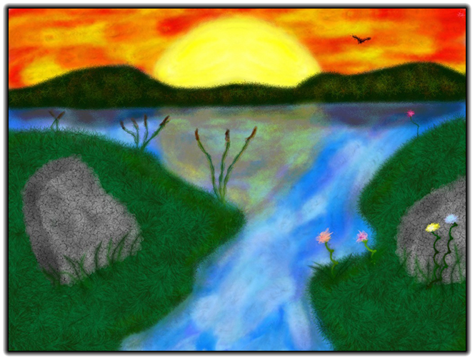 Scribblify Artwork of River with Sunset Rock and Flowers