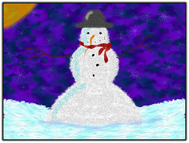 Scribblify Artwork of Snowman and Winter Snow
