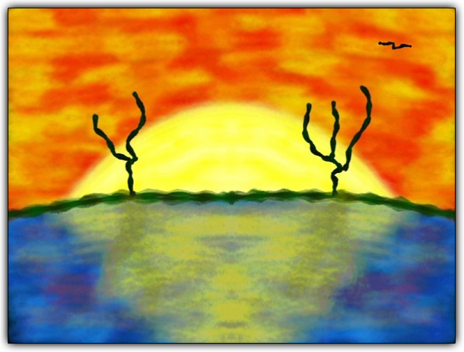 Scribblify Artwork of Sunset over Water