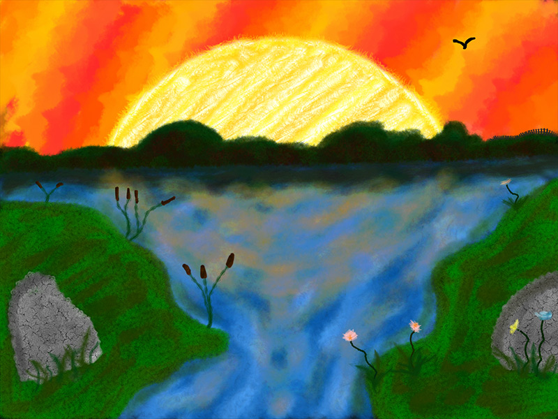 Scribblify App Artwork - Sunset Landscape